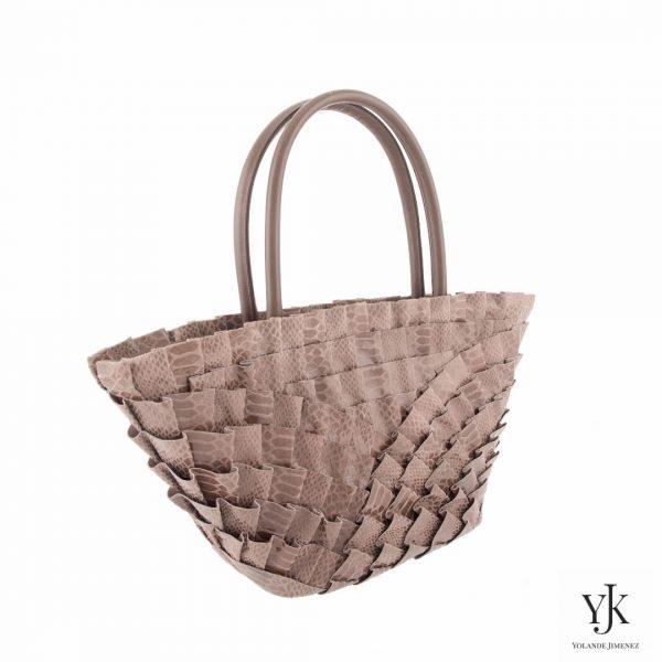 Abanico Leather Handbag Brown-Handtas van bruin leer en handbeschilderde voering.