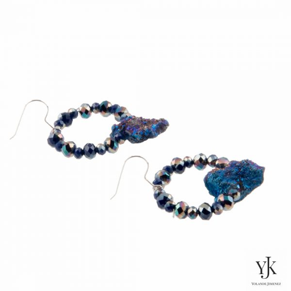 Amora Blue Plated Rough Agate Earrings-Oorhangers van blauwe 'plated' ruwe agaat