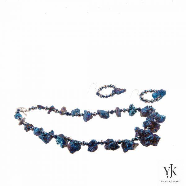 Amora Blue Plated Rough Agate Jewelryset-Sieradenset van blauwe 'plated' ruwe agaat