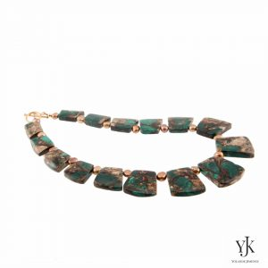 Amora Green Jasper & Pyrite Necklace-Necklace made of green Jasper slabs with Pyrite.