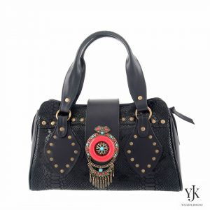 Amora Jewel Leather Handbag Black-Handbag made of black leather, has unique decoration.