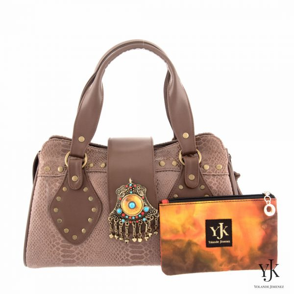 Amora Jewel Leather Handbag Brown-Handtas van bruin leer, decoratie en handbeschilderde voering.