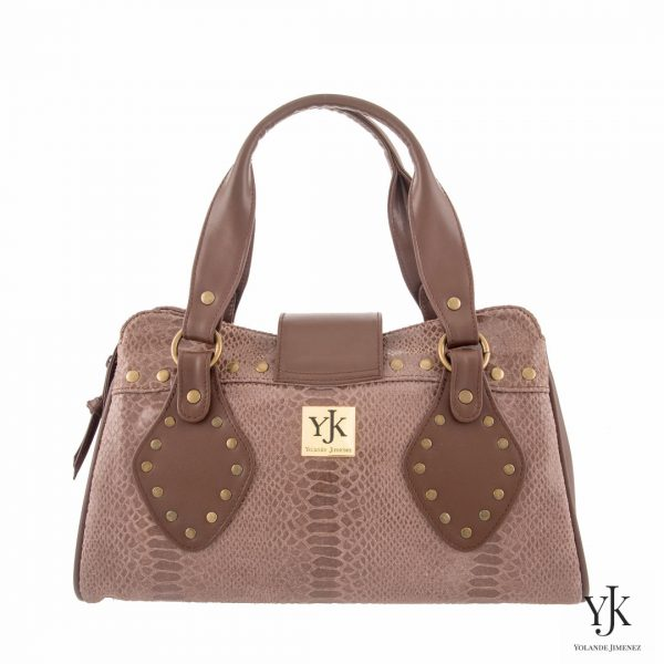 Amora Jewel Leather Handbag Brown-bruine leren handtas