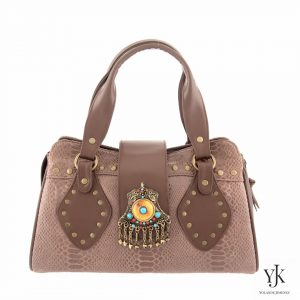 Amora Jewel Leather Handbag Brown-Handbag made of brown leather, has unique decoration.