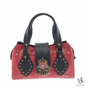Amora Jewel Leather Handbag Red-Handbag made of red and black leather with a snakeskin print, jewel decoration and handpainted lining.