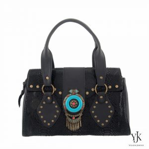 Amora Jewel Leather Handbag Black-Handbag made of black leather, handpainted lining and an exclusive jewel decoration.