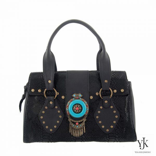 Amora Jewel Leather Handbag Black-Handtas van zwart leer, decoratie, handbeschilderde voering.