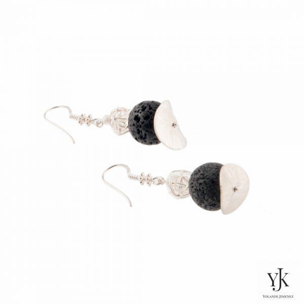 Amora Lava & Silver Earrings-Oorbellen van Lava kralen met sterling zilver