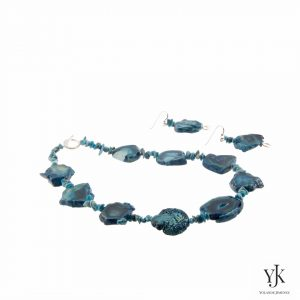Amora Petrol Turquoise Agate Jewelryset-Jewelryset made of turquoise Agate and silver.