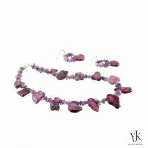 Amora Purple Jasper & Amethyst Jewelryset-Sieradenset van paars jaspis en amethyst