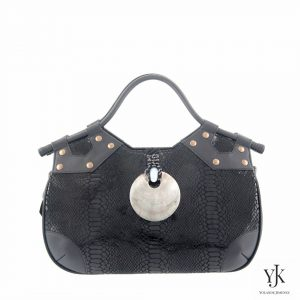 Concha Leather Handbag Black-Handbag made of black leather with snakeskin print.