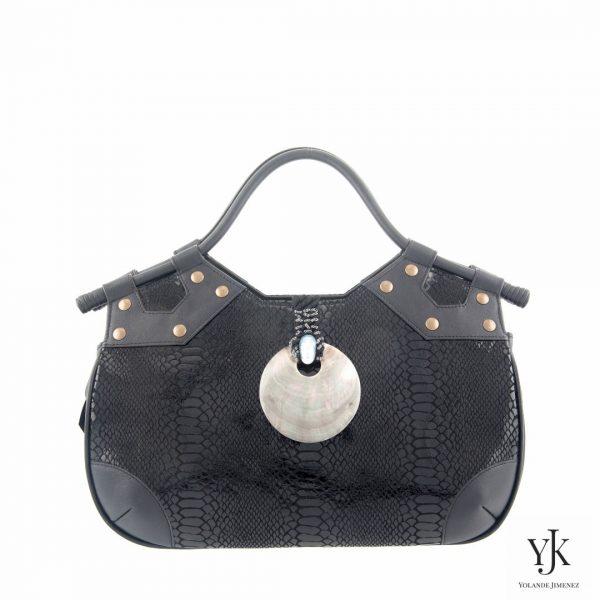 Concha Leather Handbag Black-Handtas van zwart leer met slangen print.