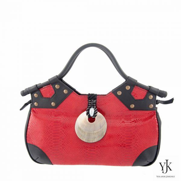 Concha Leather Handbag Red-Handtas van zwart en rood leer met slangen print.