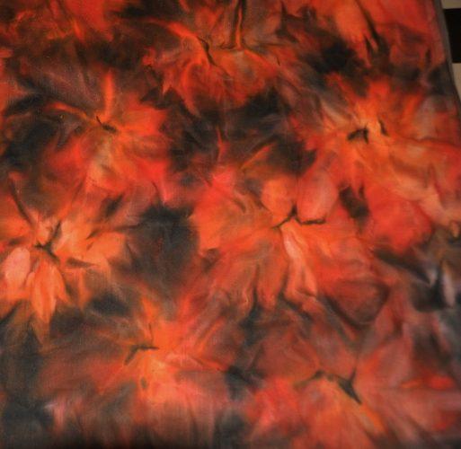 Pacifica Leather Bags-Handbeschilderde voering Sunrise Rood/oranje/zwart