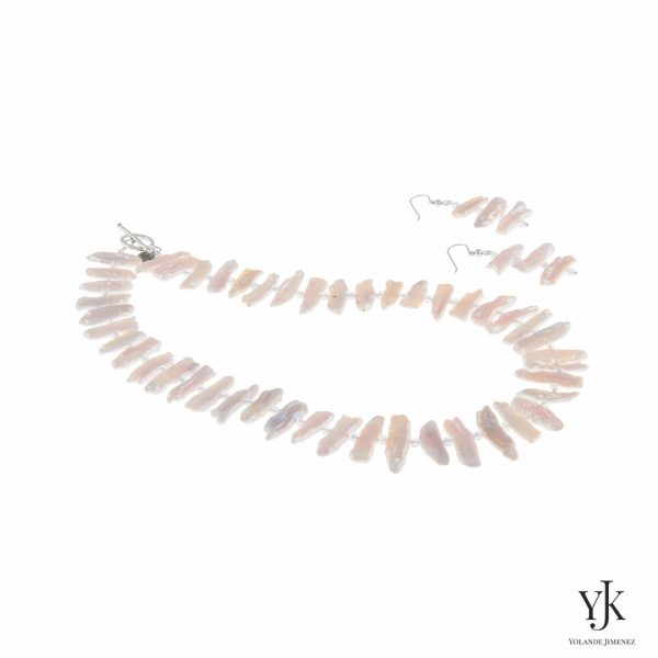 Izarra Rosy White Biwa Pearl Jewelryset-Sieradenset van roze-witte parels