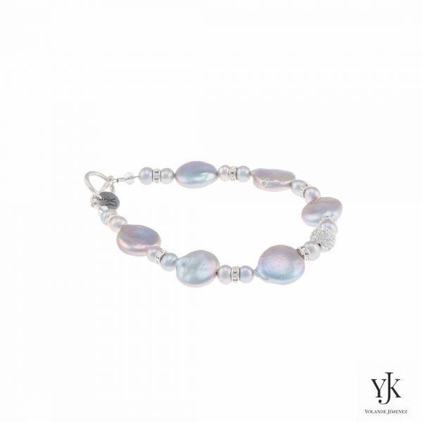 Izarra Silver Grey Coin Pearl & Swarovski Bracelet-Armband van zilvergrijze parels en Swarovski