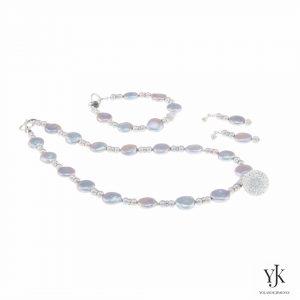 Izarra Silver Grey Coin Pearl & Swarovski Jewelryset-Sieradenset van zilvergrijze parels en Swarovski
