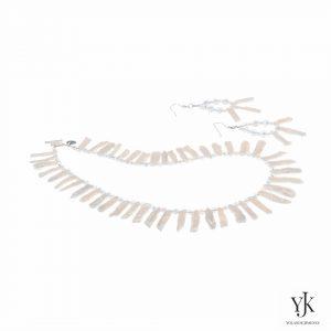 Izarra White Biwa Top-drilled Pearl Jewelryset-Sieradenset van witte Biwa parels