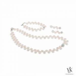 Izarra White Button Pearl & Swarovski Jewelryset-Sieradenset van witte muntvormige parels