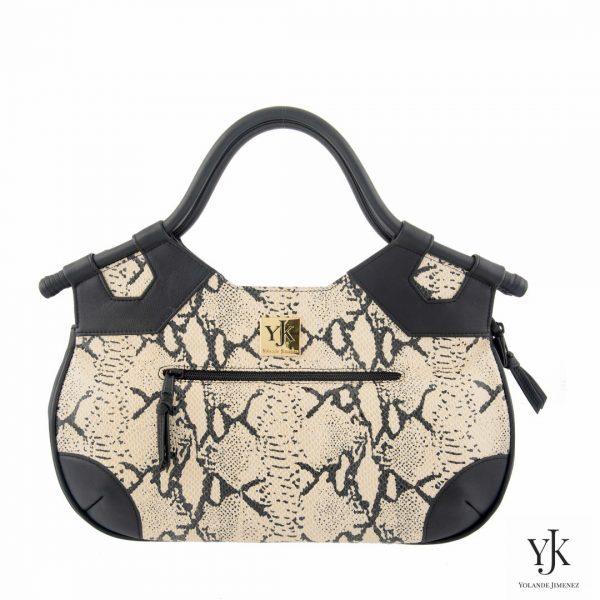 Python Concha Leather Handbag-Handtas met zwart en écru leer met python print.