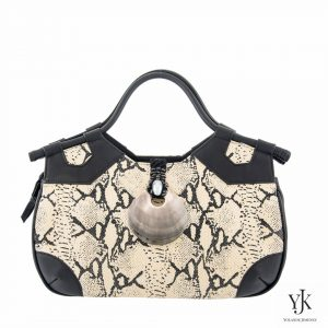 Python Concha Leather Handbag-Handbag of écru leather with python skin print.