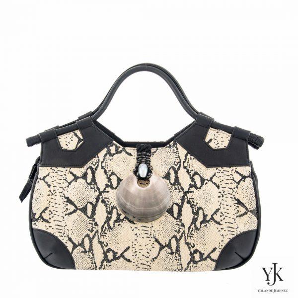 Python Concha Leather Handbag-Handtas van écru leer met python print.