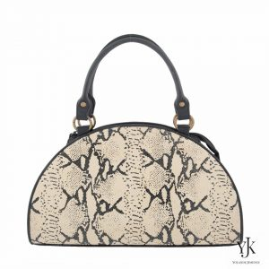 Python Leather Bag-Handbag made of black and écru leather with python print.