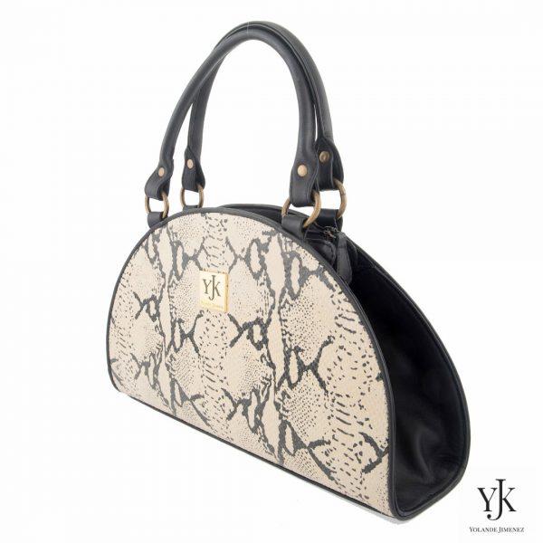 Python Leather Bag-Handtas met zwart en écru leer met python print.