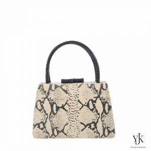 Python Leather Handbag-Handbag with écru leather with snakeskin print.