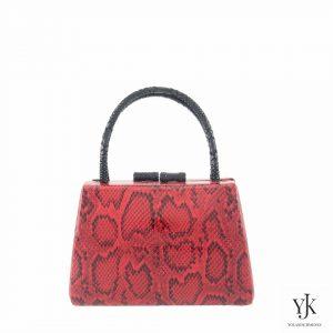 Red Python Leather Handbag-Handtas met rood leer met slangen print.