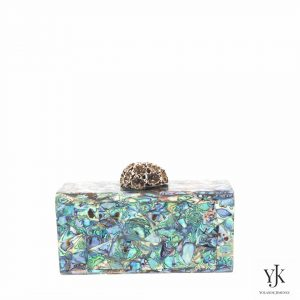 Serena Paua Shell Box-Clutch with brass decoration closure.