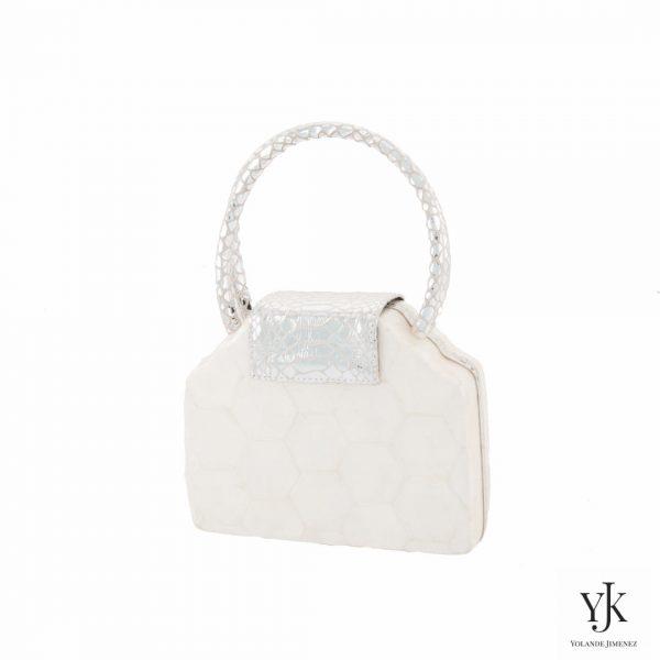 Serena Handbag Silver-Handtas van Capiz en zilver leer met slangen print.