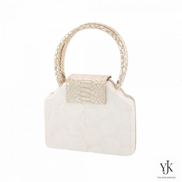 Serena Handbag Gold-Handtas van Capiz en goud leer met slangen print.