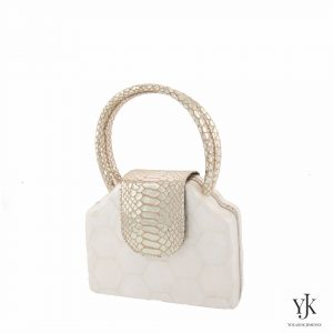 Serena Handbag Gold-Bag made of Capiz Shells and gold leather.