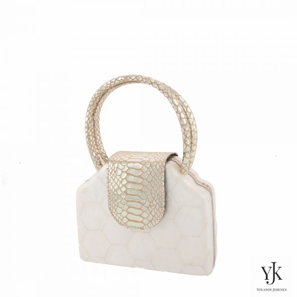 Serena Handbag Gold-Bag made of Capiz Shells and gold leather.