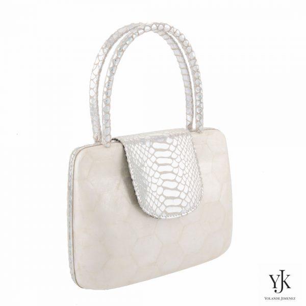 Serena Handbag Silver-Tas van Capiz en zilver leer.