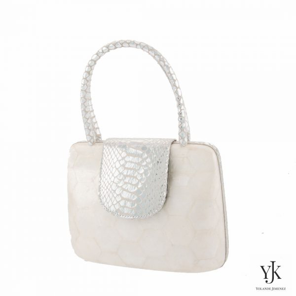 Serena Handbag Silver-Bag made of Capiz Shells and silver leather.