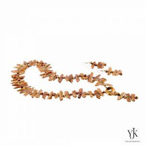Solana Gold Biwa Pearl Jewelryset-Sieradenset van goudkleurige Biwa Parels