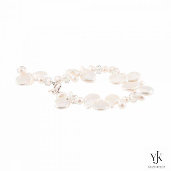 Solana White Coin Pearl Bracelet-witte muntvormige parel armband