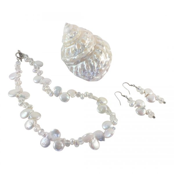 Solana White Coin Pearl Jewelryset-Sieradenset van top-drilled witte munt parels