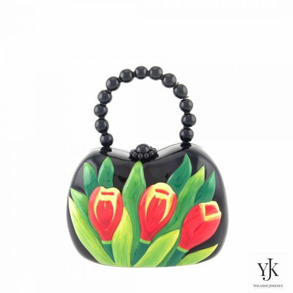 Zarita Acacia Wooden Bag-Tas van acaciahout met bloemen.