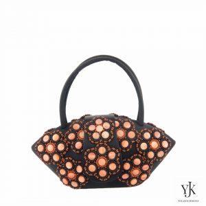 Zarita Perla Evening Bag-Avondtas met oranje decoratie op zwart satijn