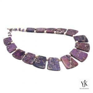 Amora Purple Jasper Slabs & Pearl Necklace- Necklace of purple Jasper slabs and pearls.