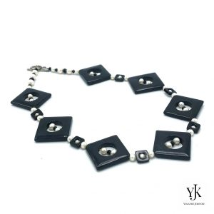 Amora Square Black Agate & Pearls Necklace-Necklace of black agate, onyx and white freshwater pearls