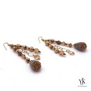 Izarra Swarovski Earrings Long-Lange gouden oorbellen van Swarovski, strass en goud op zilver,.