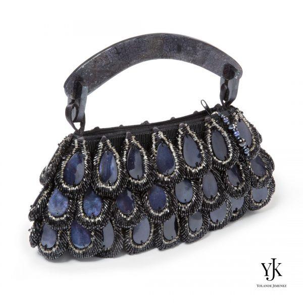 Mariposa Evening Bag Dark Blue-Blauw/zwarte avondtas van parelmoer druppels en satijn.