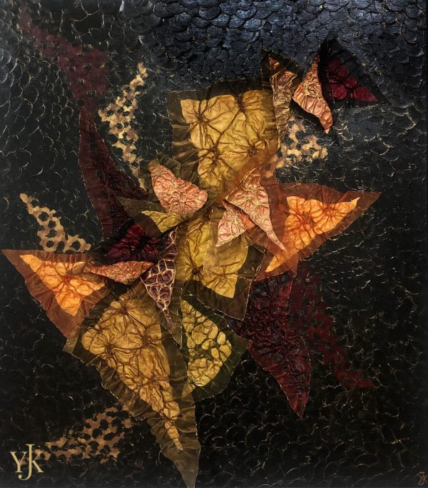 Butterflies-Acrylic painting on panel with mixed media in black, gold, yellow and red.
