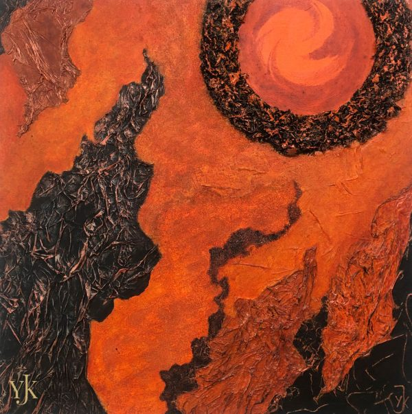 Circle of Life II-Abstract acrylic painting in orange ad black.