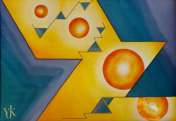 Cosmic Jazz-Abstract silk painting with clean lines in turquoise, blue, yellow and orange tones.