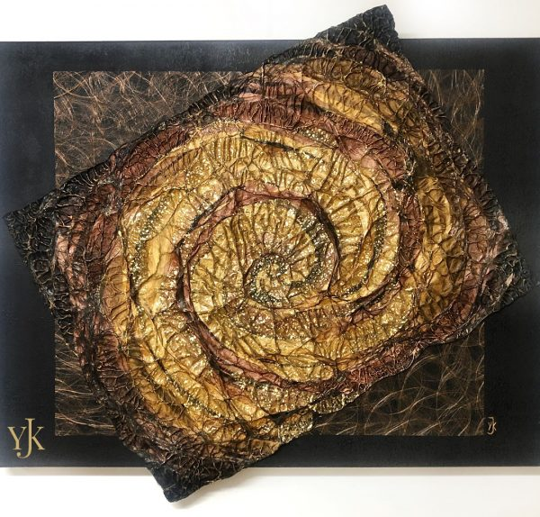 Cyclone of Gold- Acrylic abstract painting in gold, brown and black.
